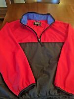 EDDIE BAUER VTG 80s 90s Red Black Blue Windbreaker Nylon Rain Jacket Sz L #186