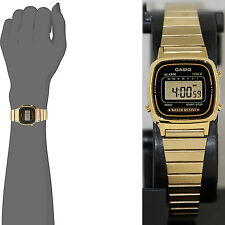 Casio LA670WGA-1 Ladies Digital Watch Gold Steel Band and Black Dial Retro New