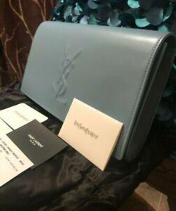 Classy!* NWT YSL Saint Laurent Monogram Leather Clutch Pouch Bag Handbag In Blue