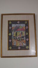 Watercolor Illumination Painting India Court Religious Scene Framed 12x15