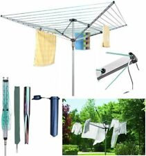 50m Rotary Clothes Airer Washing Line Dryer Aluminium Robust Adjustable 4-arms