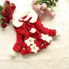 Toddler Baby Kids Girls Faux Fur Fleece Jacket Snowsuit Warm Hooded Coat Outwear