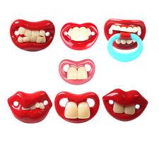 Muñecos divertidos paifiers dientes novedad bigote bebé niño encantador chupete