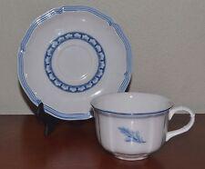 Villeroy & Boch Casa Azul Breakfast Cup & Saucer, Blue & White Leaf Scallop Rim