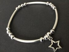 Noodle And Ball Stretch Bracelet With Open Star Open Heart Mini Star Love Heart