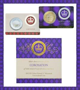 2013 $2 Coronation Colour Printed C Coin +2012 Diamond Jubilee Card +Anniversary