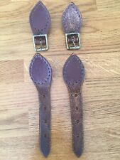 Vintage Pair of Replacement Satchel Buckles Mounted on Leather & Leather Straps