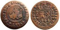 Spain-Felipe V. 4 Maravedis. 1719. Zaragoza. Cobre 8,2 g. Escasa