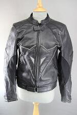 Negro chaqueta de cuero de motorista con & Codo armadura de hombro desmontable 34 pulgadas