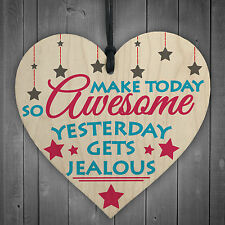 Make Today Awesome Novelty Wooden Hanging Heart Plaque Friendship Gift Sign New