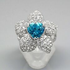 2.50 Carat Natural London Blue Topaz Flower Ring With Topaz in 925 Silver
