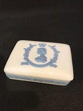 Wedgwood Embossed Queens Ware Elizabeth II Coronation Trinket Dish Box 1953