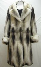 FREE SHIPG WARMTH UNIQUE LUXURY RARE NATURAL BLUE DONUBE FITCH FUR LADY 3/4 COAT