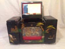 Rare Vintage Japanese Animated Black Laquer Music Box w/ Man Pulling Cart