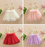 Girls Baby Toddlers Sequin Princess Dress Party Tutu Clothes Sleeveless Dresses