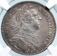 1750s FRANCE ARTOIS King Louis XV SILVER FRENCH Old Jeton Medal Token NGC i87853