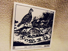 "6 X 6 CURRIER & IVES ART TILE TRIVET..""THE CARES OF THE FAMILY""  BLACK/WHITE"