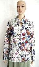 Chico's Womens White Multi Color Floral Print Long Sleeve Blouse Sz1 = 8/10 New