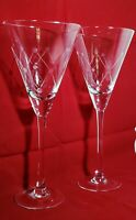 """Contemporary ETCHED WINE WATER GOBLETS GLASSES 10.25"""" SET OF 2 HARLEQUIN DIAMOND"""