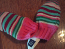 NWT baby Gap girl pink, green, aqua, white & red striped knitted mittens; 0-6m