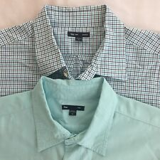 Gap Button Up Shirt Lot Mens Xl Solid Blue White Plaid Long Sleeve Casual Work