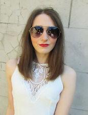 Negro Aviador Gafas De Sol Plata Oscuro Monturas Mujer Festival De Verano Y78
