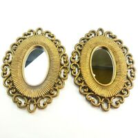 Vintage Pair of Oval Ornate Mirrors Dart HOMCO Rattan Look Decor Mid Century