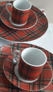 Pier 1 Imports Tartan Plaid Set 2 Espresso Tea Coffee cups saucers Japan Red HTF