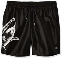 Calvin Klein Men's 7 Inch Elastic Waist Quick Dry Swim, Surf Black, Size Small W