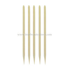 5 x ORANGE WOODEN MANICURE STICKS FOR PROFESSIONAL NAILS TIDY CUTICLES SEE SHOP