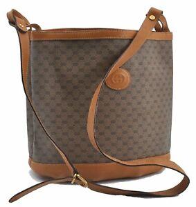 Authentic GUCCI Micro GG PVC Leather Shoulder Cross Body Bag Brown E2659
