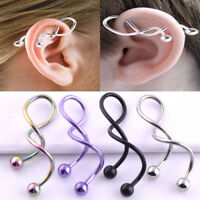 14G Titanium Anodized Twist Spiral Barbell Industrial Earring Piercing Jewelry