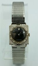 Longines Watch Vintage Men's 14K White Gold Diamond Bezel Black Square Wittnauer