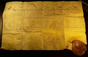 KING LOUIS XV AUTOGRAPH DOCUMENT with LARGE WAX SEAL 1769 Rey Luis XV de Francia