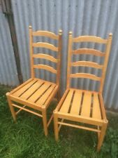 2 Vintage Ercol Penn Solid Ash Ladder Back Kitchen Dining Chairs Light Finish