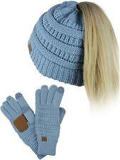 C.C BeanieTail Messy High Bun Cable Knit Beanie and Anti-Slip Touchscreen Gloves