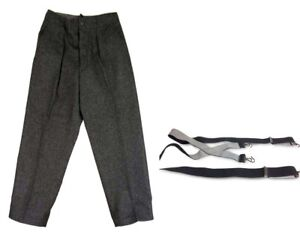 Serge Lana Pantaloni 60s Peso Medio Originale Bretelle 103-118cm) Vtg Vgc XS-XL