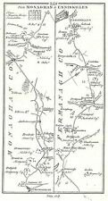 Antique map, Roads from Monaghan to Enniskillen, Dundalk to Kells