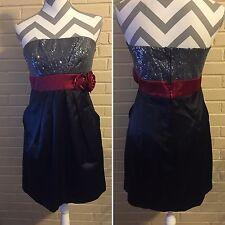 Speechless Formal Gown Strapless Dress Juniors 5 Burgundy Black Gray US SELLER