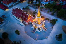 Golden Pagoda in Temple of Thailand Photo Art Print Poster 18x12