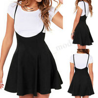 UK 8-20 Women Vintage Strappy High Waist Skater Skirt Party Evening Mini Dress