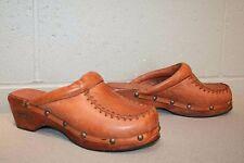 7 N Nos Vtg 1970s Brown Leather Clogs Crawdads Platform Wedge Heel 70s Boot Shoe