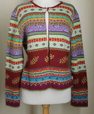 OILILY Art-to-Wear Funky Colorful Special Wool One Button Cardigan Sweater Sz XL