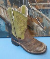 Tony Lama 904 Youth 10.5 D Brown/Green Leather Square Toe Western Cowboy Boots