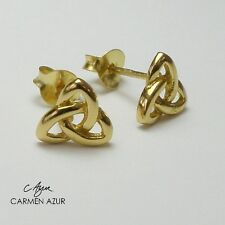 18ct Gold on Sterling Silver Stud Earrings Celtic Knot Triquetra New + Gift Bag