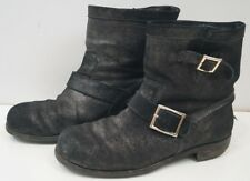 JIMMY CHOO Black Grey Metallic Coarse Suede Leather Ankle Biker Boots 41.5 UK8.5