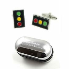 Traffic Lights Cufflinks & Engraved Gift Box