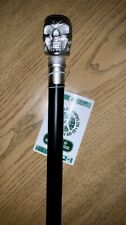 SILVER PLATED SKULL HANDLE ON BLACK SHAFT WALKING CANE STICK for HALLOWEEN Prop