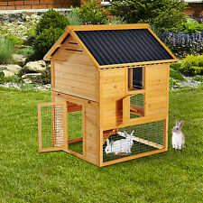Pawhut Wooden Rabbit Hutch House Bunny Chicken Coop Poultry Run Deluxe Backyard