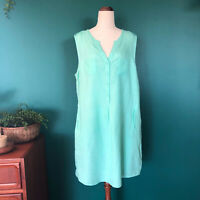 New SUZANNE GRAE Mint Green Linen Sleeveless Tunic Dress Size 18 Plus Beach